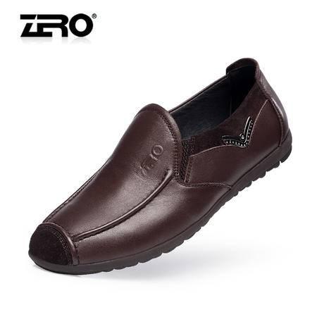Zero零度春夏新品休闲皮鞋舒适套头层皮流行男鞋潮流帆船鞋F8923