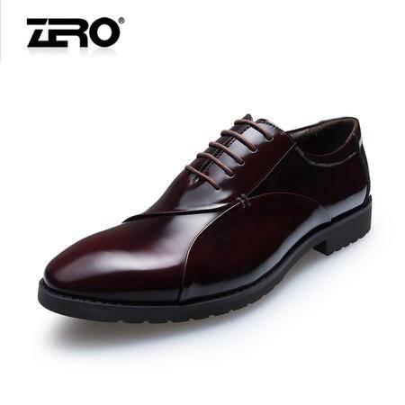 Zero零度男鞋春季潮男士皮鞋头层皮英伦真皮商务正装皮鞋子65021