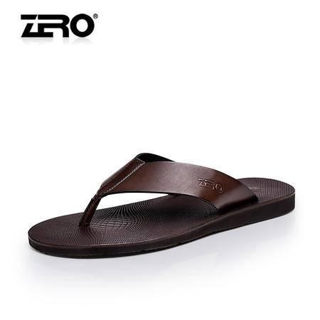 Zero零度夏季新款人字拖真皮舒适潮流拖鞋透气休闲男凉拖鞋F8978