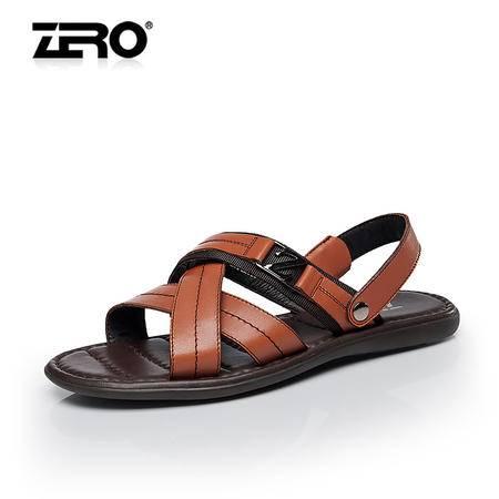 Zero零度男士凉鞋2015夏季新款真皮透气凉鞋露趾套筒沙滩鞋F8980