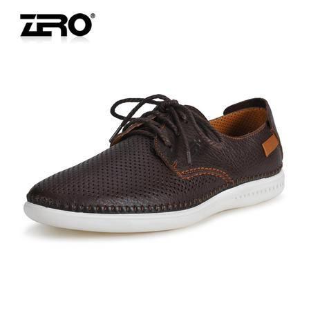 Zero零度夏季男士镂空皮鞋透气真皮凉鞋时尚潮鞋高端男鞋子98376
