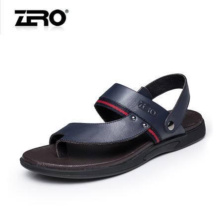 Zero零度夏季新款男凉鞋透气真皮凉鞋夹趾两用凉鞋男沙滩鞋F8984