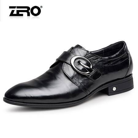 Zero零度正装皮鞋2016春季新品商务休闲鞋男士真皮低帮搭扣婚庆鞋