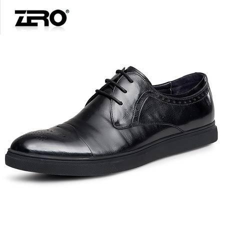 Zero零度2016春季新品休闲皮鞋男士低帮系带皮鞋布洛克潮流板鞋男