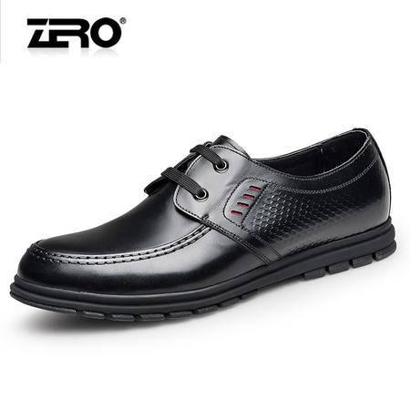 Zero零度商务休闲皮鞋新品时尚真皮男士皮鞋低帮系带休闲男鞋