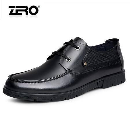 Zero零度商务休闲皮鞋时尚潮流男士皮鞋休闲鞋舒适防滑系带皮鞋男