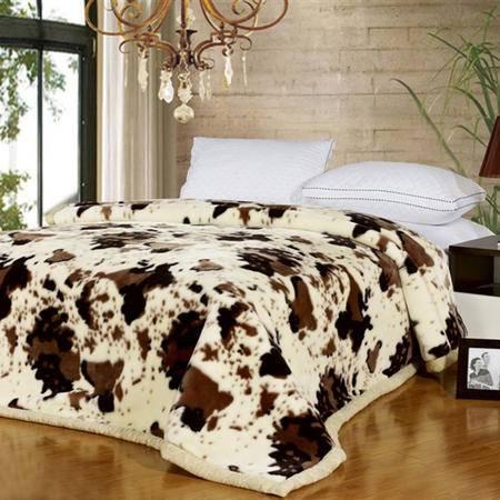 伊莲家纺PISCES双层双面拉舍尔毯-牛奶斑点YT-12SMT0006S