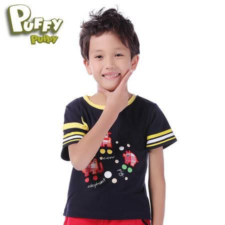 PuffyPuppy夏装新款童装 男童休闲T恤 帅气潮款圆领上衣PFXZ01P45
