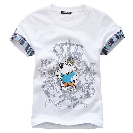 PuffyPuppy儿童装 全棉皇冠图案印花男童短袖T恤 新款夏装PEXZ01P59