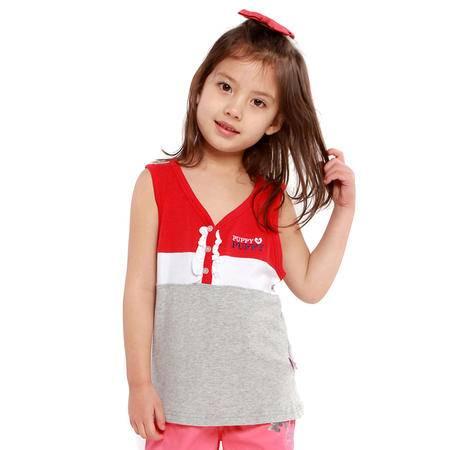 PuffyPuppy童装 纯棉女童背心 夏装新款儿童上衣  PCXZ05P04