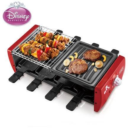 迪士尼RKJ80无油烟不粘家用烧烤架电烤盘烤肉机 烤肉牛排烤