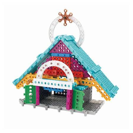 龙越5501静态百变别墅积木 儿童塑料科教益智拼插积木玩具  47片