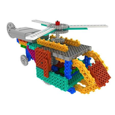 龙越2合1 运输式飞机+直升飞机四通遥控积木套 106块科教益智拼插玩具R728
