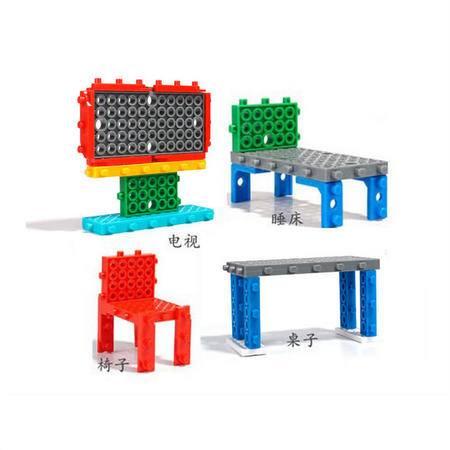龙越拼插启智玩具 亲子益智积木电视+睡床+桌子+椅子 (21块)