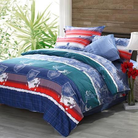 水星家纺108148简约新尚纯棉斜纹四件套 春夏四季床上用品被套床单