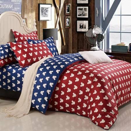 迪士尼/DISNEY米奇金典红全棉精品卡通四件套 床上用品DSN15-D001