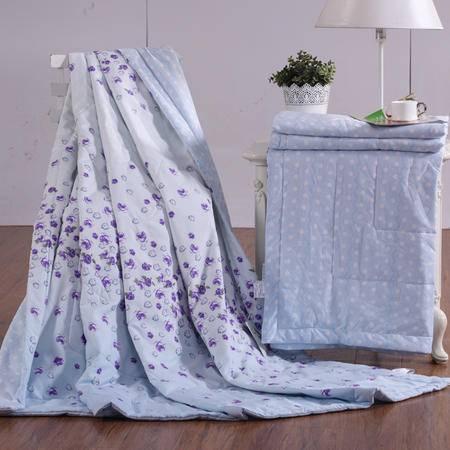 水星家纺 108439清馨花雨春夏被 磨毛印花薄被子单人被可水洗夏被