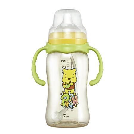 迪士尼/DISNEY宽口径自动吸管婴儿奶瓶300ML硅胶奶嘴带手柄防摔胀气奶壶EQF-005W