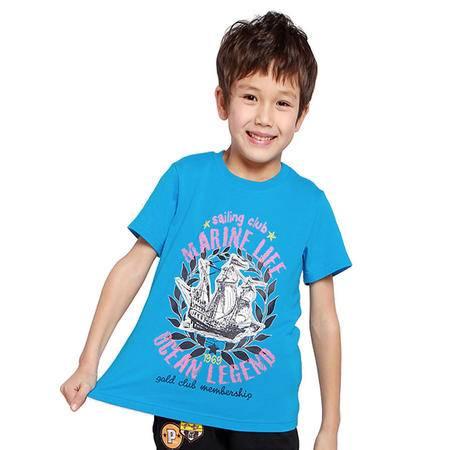 PuffyPuppy儿童装夏装 中大童上衣全棉帆船图案男童短袖T恤 PEXZ01P47