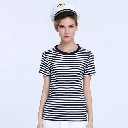 GOOD FUTURE女装The Boat House系列圆领海魂衫全棉短袖条纹女T恤