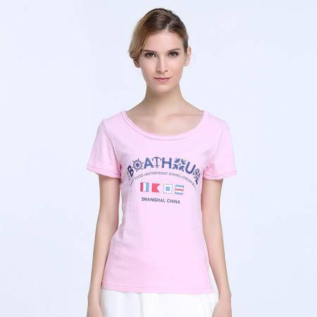 GOOD FUTURE女装The Boat House系列女式针织全棉粉色短袖T恤夏装