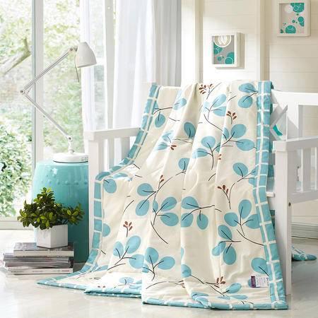 紫兰玉家纺 全棉夏被可水洗空调被 喷气斜纹印花纯棉夏凉被 被子 2.0米