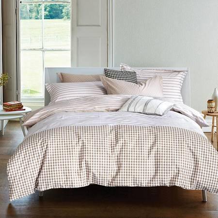 紫兰玉家纺 全棉喷气活性印花四件套 斜纹纯棉套件 1.8米床