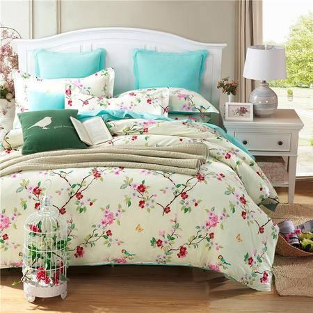 紫兰玉家纺 单人双人全棉被套100%纯棉斜纹被罩 单被套床上用品150*210