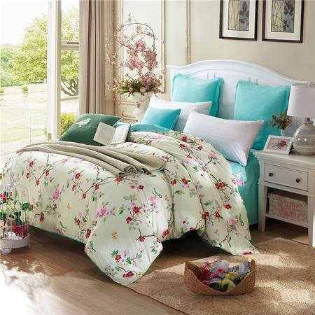 紫兰玉/ZILANYU 单人双人全棉被套100%纯棉斜纹被罩 单被套床上用品 180*220