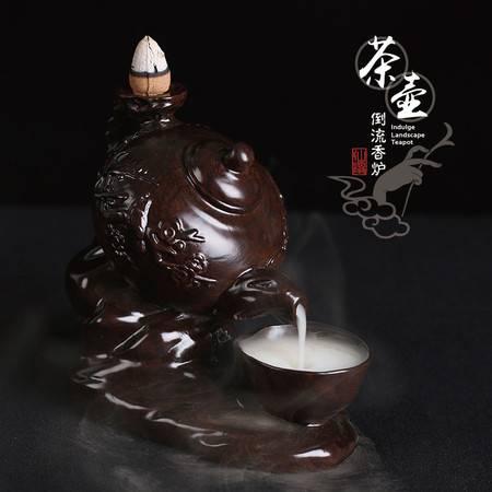 仙源 黑檀倒流香炉创意茶壶家居佛具红木摆件 檀香沉香香薰炉