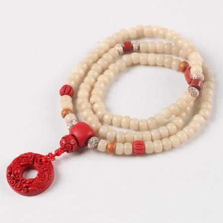 仙源白玉菩提根108颗佛珠手链 高密天然顺白男女桶珠手串 饰品
