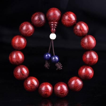 仙源 满金星小叶紫檀正宗老料高密度佛珠手链15mm手串印度紫檀香