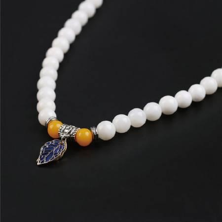 仙源 天然白砗磲手链 8mm54颗半玉化蜜脂银叶男女款手串水晶饰品
