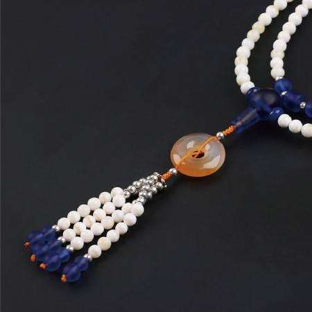 仙源 天然金丝砗磲手链 6mm108颗琉璃平安扣男女款手串水晶饰品