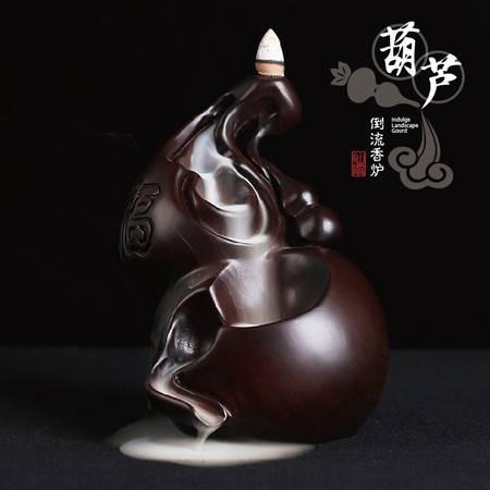 仙源 黑檀倒流香炉创意葫芦家居佛具红木摆件 檀香沉香香薰炉