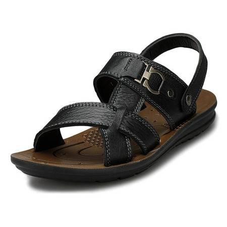 索里奥夏新款男士头层牛皮沙滩鞋两穿舒适透气凉鞋6252
