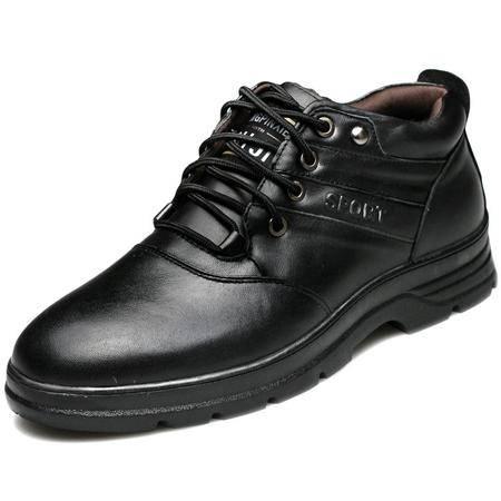 索里奥冬款男士头层牛皮毛绒棉靴保暖舒适棉鞋1300-1