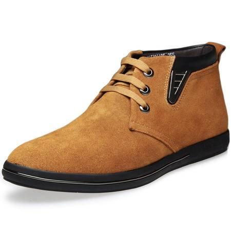 索里奥男士反绒牛皮时尚棉靴保暖毛靴皮靴棉鞋6605