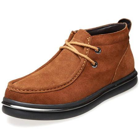 索里奥男士反绒牛皮舒适系带休闲棉靴保暖靴8233