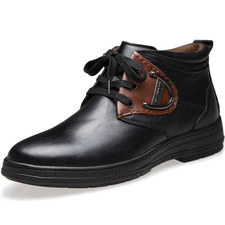 索里奥男士头层牛皮时尚皮靴保暖棉靴 9126-1