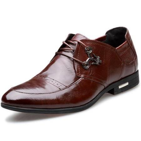 索里奥男士头层牛皮商务正装鞋英伦时尚褶皱皮鞋单鞋 6006-23