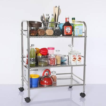 厨欲无限 不锈钢厨房置物架收纳层架微波炉置物架不锈钢L长50cmM50