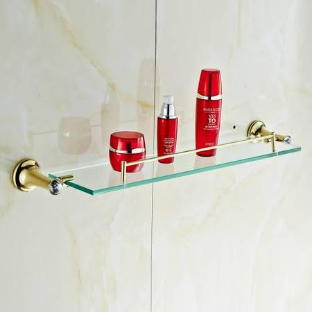 卫欲无限 施华洛水晶奢华欧式系列 镀金卫浴挂件 玻璃置物架 化妆品架
