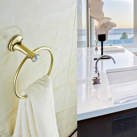卫欲无限 施华洛水晶奢华欧式系列 镀金卫浴挂件毛巾环 毛巾架