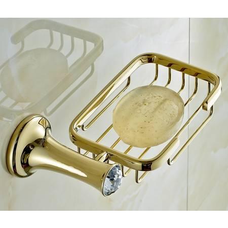 卫欲无限 施华洛水晶奢华欧式系列 镀金卫浴挂件肥皂架 皂网 皂碟