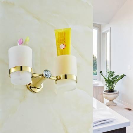 卫欲无限 施华洛水晶奢华欧式系列 镀金卫浴挂件 洗漱架 双杯 洗漱架 牙杯