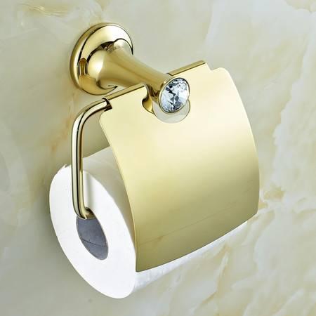 卫欲无限 施华洛水晶奢华欧式系列 镀金卫浴挂件 卷纸器 纸巾架