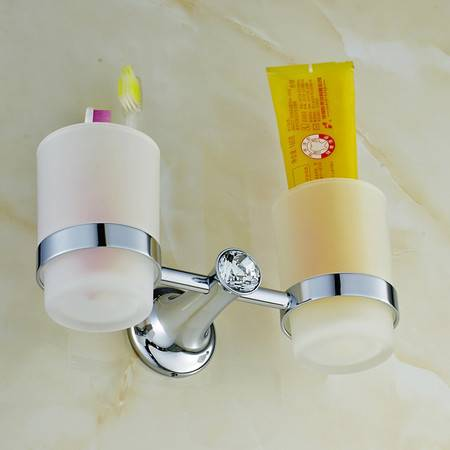 卫欲无限 施华洛水晶奢华银色系列 卫浴挂件 洗漱架 双杯