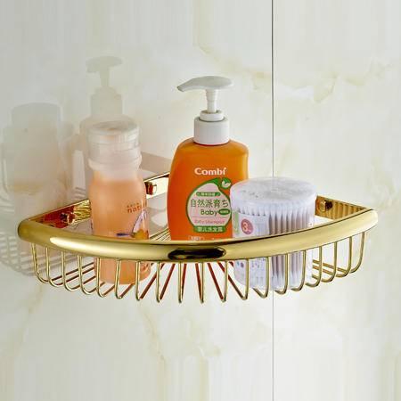 卫欲无限 欧式奢华镀金单层三角网篮 置物架 卫浴挂件 三角网篮
