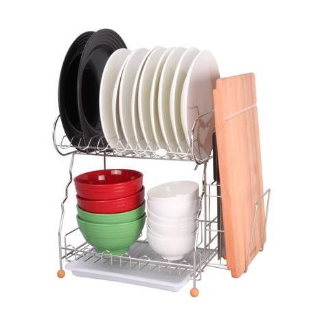 厨欲无限高端不锈钢健康双层碗盘架 厨房收纳层架 厨房置物架